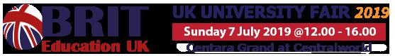 UK University Fair งานศึกษาต่ออังกฤษใหญ่ที่สุด Sun 7 July 2019: 12.00-16.00 – BRIT